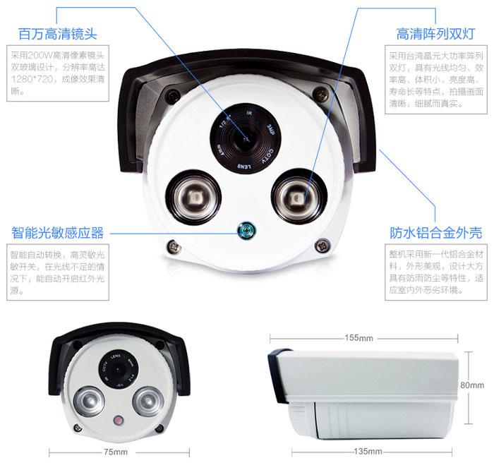 网络摄像机W0720功能尺寸
